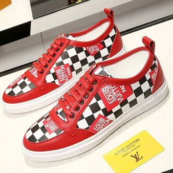 LV Louis Vuitton 2018 new men's fashion high-quality high-grade men's shoes F-OMDP-GD RED