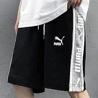 PUMA Summer New Fashion Letter Print Women Men Shorts Black