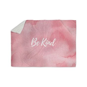 "KESS Original ""Be Kind"" Pink White Sherpa Blanket"