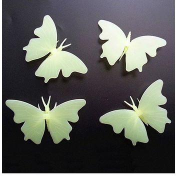 The Dark Luminous Fluorescent 3D Butterfly Color Stickers Home Room Decorations Glow In The Dark Starry Sky Wall Decals Stickers Kids Special Gifts