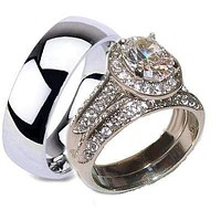 His Hers Halo Cz Wedding Ring Set Stainless Steel & Titanium Rings