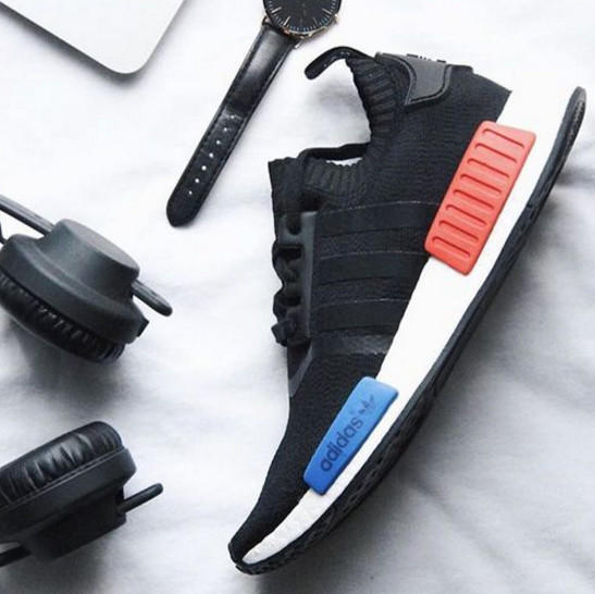 """Image of """"Adidas"""" NMD Trending Fashion Casual Sports Shoes Black red blue soles"""