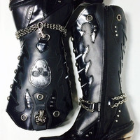 New Rock Chain & Skull Ladies High Heeled Black Leather Boots Women's Size 37 Size 6