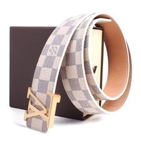 """Louis Vuitton Fashion Belt Classic White Chess Grid Belt With Gold Buckle 38-40"""""""