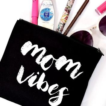Mom Zip Canvas Cosmetic Bag