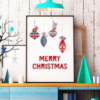 Scandinavian Christmas printable - Merry Christmas print - Scandinavian print - Christmas printable - Christmas wall decor