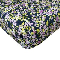 Bougainvillea Lilac and Navy Floral Fitted Crib Sheet - Fits Standard Crib Mattresses and Daybeds