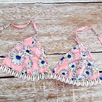 Pink Daisy Shell Bralette - Pale Pink Triangle Bra with Cowrie Shell Embellishment