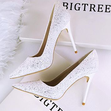 High-heeled shallow mouth pointed sparkle sequins sexy slim nightclub high heels single shoes women's shoes white