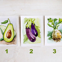 Original watercolor painting avocado, eggplant and celery ACEO cards, kitchen home decor for vegetables lovers, veggie gift idea