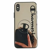 Champion tide brand couple mirror glass iphone8plus airbag bracket mobile phone shell Black
