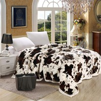 Cool Super Soft Raschel Blanket Animal Cow Skin Flower Print Double Layer Queen King Size Double Bed Thick Warm Winter Mink BlanketsAT_93_12