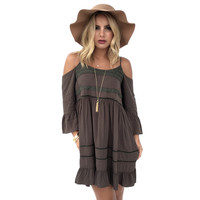 Set Free Open Shoulder Dress In Olive