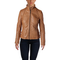 DKNY Womens Leather Quilted Motorcycle Jacket