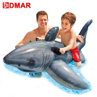 "DMAR 173cm 68"" Inflatable Shark Ride on Toys for Kids Giant Pool Float Toys Swimming Ring Circle Beach Sea Inflatable Mattress"