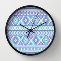 Tribal Art Creation Purple and Mint Wall Clock by tjc555 | Society6