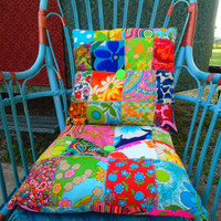 Boho gypsy patchwork pillows handmade vibrant vintage fabrics extra bright eye catching room decor bohemian apartment dorm bedroom