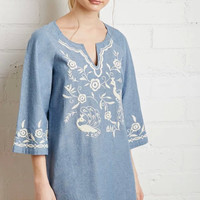Denim Blue Embroidered Sleeve Shift Dress