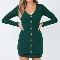 Women Knit Dress Female Casual Long Sleeve Bodycon Short Dress Button Pit Sweater Dress Larger