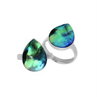 AR-6209-AB-6'' Sterling Silver Pear Shape Ring With Abalone Shell