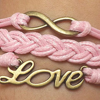 Unisex  Fashion  Ancient bronze Infinite hope and love pink Wax rope Braided leather bracelet Love to When the earth and heaven get old