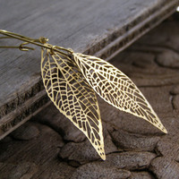 Delicate Golden Leaf Skeleton Drop Earrings, Long Dangle Filigree leaf Drops, Woodland Brass metal Jewelry, Rustic Spring Casual Elegant