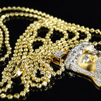 Yellow Gold Finish Authentic Diamond Jesus Piece With Ball Chain
