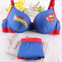 Supermen Push Up Bra set Young Girls Intimates A Sets Of Underwear Women Bra Panties brief Sets cotton Women's Underwear Set New