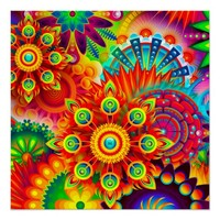 Neon Psychedelic Abstract Cool Cute Fractal Poster