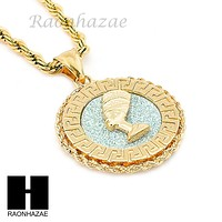 "MENS STAINLESS STEEL NEFERTITI MEDALLION PENDANT 24"" ROPE CHAIN NECKLACE NP011"