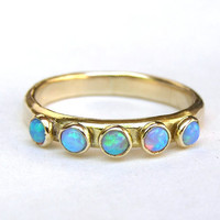 Blue Opal ring Stacking ring  Fine 14k Gold ring and by OritNaar
