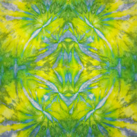 Tie dye tapestry wall hanging in yellow blue green