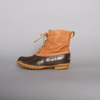 1980s LL Bean RAIN BOOTS / 80s Maine Hunting Shoe Rubber & Leather Duck Boots 7