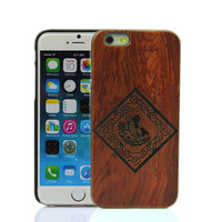 Wooden Case iPhone 6 Hard Cover Engraved Pattern Cherry Red Red