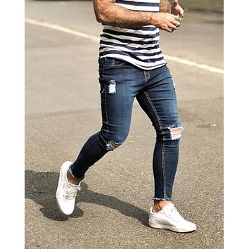 Skinny Men's Jeans Long Pants with Holes