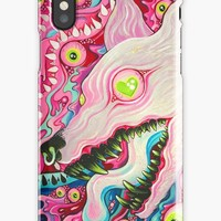 'Glitterwolf Acrylic Painting' iPhone Case by cloudsover31