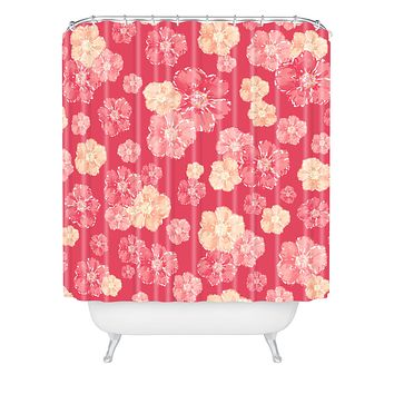 Lisa Argyropoulos Blossoms On Coral Shower Curtain