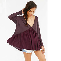 Hot Sale Women's Fashion Backless Deep V Patchwork Long Sleeve T-shirts [4966039684]