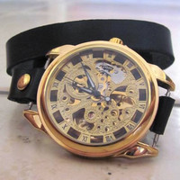 Stylish Retro Leather Band Manual-Winding Mechanical Skelton Gold Wrist Watch. 20% Off - 79 Dollars Only  FREE SHIPPING