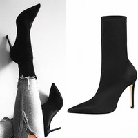 EOEODOIT High Stiletto Heels Elastic Boots Lycra Boot 2019 Spring Autumn Women Sexy Pointy Toe Stocking Sock Shoes Pumps 10 cm