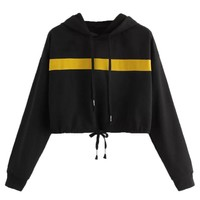 Feitong Women Sweatshirt Casual Rope Pulling Splicing Caps Jumper Cropped Hoodie Black Jumper Felpe Donna #L