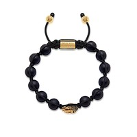 Men's Beaded Bracelet with Matte Onyx and Gold Buddha