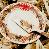Christmas Garland Cake Plate With Knife by Andrea by Sadler, Cake Plate Christmas  Andrea by Sadek Made in Japan