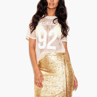 Gold Side Zip Bodycon Mini Skirt