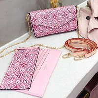 LV new material three-piece mobile phone, ID card, cash, key bag pink