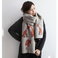 Fox Printed Scarf