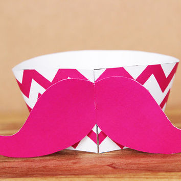 3D Printable Hipster Mustache Cupcake Wrapper and Topper Set in a bright pink chevron pattern  INSTANT DOWNLOAD