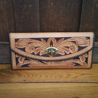 Vintage Brown Flower Embossed Tooled Leather Wallet Clutch