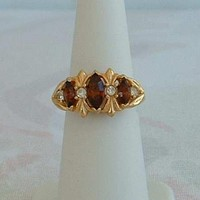 AVON Victorian Style Triple Amethyst Ring Size 6 w/ sizer Navette Marquise Cut