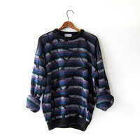 Vintage 80s abstract sweater. Bill Cosby sweater. Oversized sweater. retro top.
